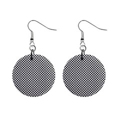 Sports Racing Chess Squares Black White Mini Button Earrings by EDDArt