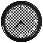 Sports Racing Chess Squares Black White Wall Clocks (Black)