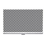 Sports Racing Chess Squares Black White Business Card Holders