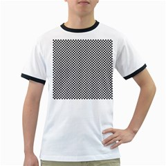 Sports Racing Chess Squares Black White Ringer T Shirts by EDDArt