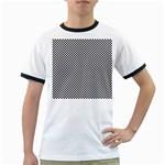 Sports Racing Chess Squares Black White Ringer T-Shirts