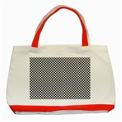 Sports Racing Chess Squares Black White Classic Tote Bag (red) by EDDArt