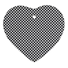 Sports Racing Chess Squares Black White Heart Ornament (2 Sides) by EDDArt