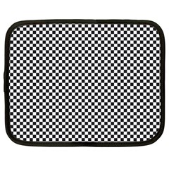 Sports Racing Chess Squares Black White Netbook Case (large) by EDDArt