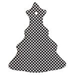 Sports Racing Chess Squares Black White Ornament (Christmas Tree)