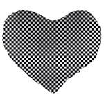 Sports Racing Chess Squares Black White Large 19  Premium Heart Shape Cushions