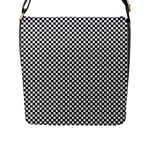 Sports Racing Chess Squares Black White Flap Messenger Bag (L)