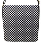 Sports Racing Chess Squares Black White Flap Messenger Bag (S)