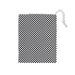 Sports Racing Chess Squares Black White Drawstring Pouches (Medium)