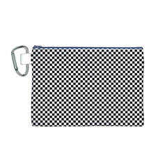 Sports Racing Chess Squares Black White Canvas Cosmetic Bag (m) by EDDArt