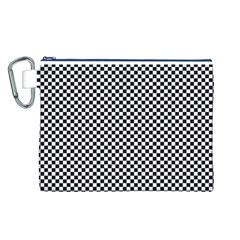 Sports Racing Chess Squares Black White Canvas Cosmetic Bag (l) by EDDArt