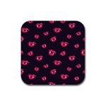 Pattern Of Vampire Mouths And Fangs Rubber Square Coaster (4 pack)