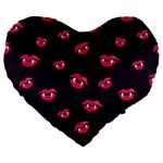 Pattern Of Vampire Mouths And Fangs Large 19  Premium Flano Heart Shape Cushions