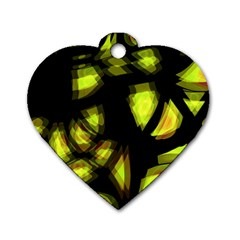 Yellow Light Dog Tag Heart (one Side) by Valentinaart