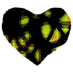 Yellow Light Large 19  Premium Flano Heart Shape Cushions by Valentinaart