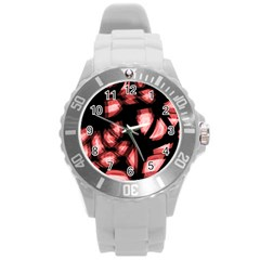 Red Light Round Plastic Sport Watch (l) by Valentinaart