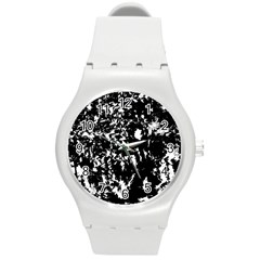 Black And White Miracle Round Plastic Sport Watch (m) by Valentinaart
