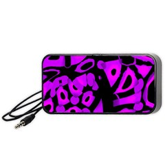 Purple design Portable Speaker (Black)  by Valentinaart
