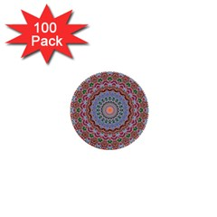 Abstract Painting Mandala Salmon Blue Green 1  Mini Buttons (100 Pack)  by EDDArt
