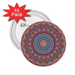 Abstract Painting Mandala Salmon Blue Green 2 25  Buttons (10 Pack)  by EDDArt