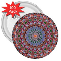 Abstract Painting Mandala Salmon Blue Green 3  Buttons (100 Pack)  by EDDArt