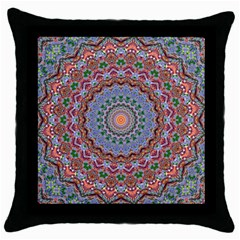 Abstract Painting Mandala Salmon Blue Green Throw Pillow Case (black) by EDDArt