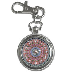 Abstract Painting Mandala Salmon Blue Green Key Chain Watches by EDDArt