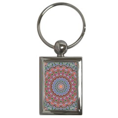 Abstract Painting Mandala Salmon Blue Green Key Chains (rectangle)  by EDDArt