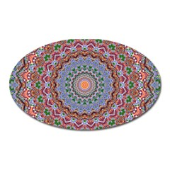 Abstract Painting Mandala Salmon Blue Green Oval Magnet by EDDArt