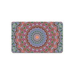 Abstract Painting Mandala Salmon Blue Green Magnet (name Card) by EDDArt