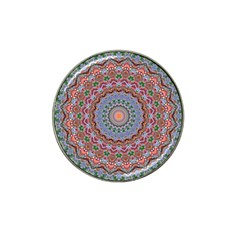 Abstract Painting Mandala Salmon Blue Green Hat Clip Ball Marker (4 Pack) by EDDArt
