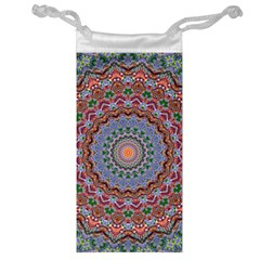 Abstract Painting Mandala Salmon Blue Green Jewelry Bags by EDDArt