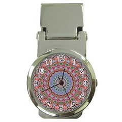 Abstract Painting Mandala Salmon Blue Green Money Clip Watches by EDDArt