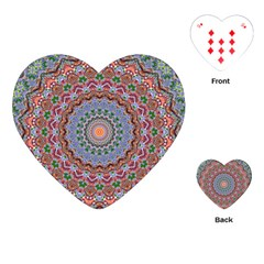 Abstract Painting Mandala Salmon Blue Green Playing Cards (heart)  by EDDArt