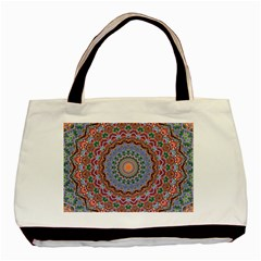Abstract Painting Mandala Salmon Blue Green Basic Tote Bag (two Sides) by EDDArt