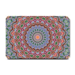 Abstract Painting Mandala Salmon Blue Green Small Doormat  by EDDArt