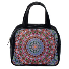 Abstract Painting Mandala Salmon Blue Green Classic Handbags (one Side) by EDDArt