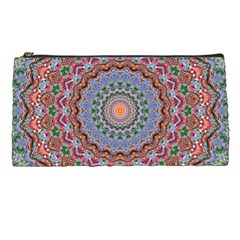 Abstract Painting Mandala Salmon Blue Green Pencil Cases by EDDArt