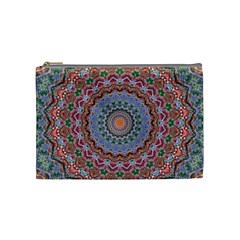 Abstract Painting Mandala Salmon Blue Green Cosmetic Bag (medium)  by EDDArt