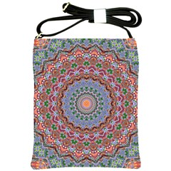 Abstract Painting Mandala Salmon Blue Green Shoulder Sling Bags by EDDArt