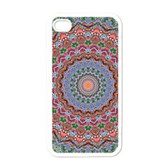 Abstract Painting Mandala Salmon Blue Green Apple Iphone 4 Case (white) by EDDArt