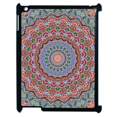 Abstract Painting Mandala Salmon Blue Green Apple Ipad 2 Case (black) by EDDArt