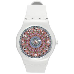 Abstract Painting Mandala Salmon Blue Green Round Plastic Sport Watch (m) by EDDArt