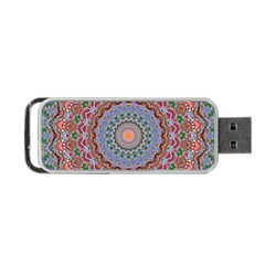 Abstract Painting Mandala Salmon Blue Green Portable Usb Flash (one Side) by EDDArt