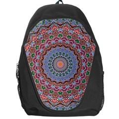 Abstract Painting Mandala Salmon Blue Green Backpack Bag by EDDArt