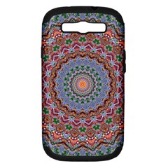 Abstract Painting Mandala Salmon Blue Green Samsung Galaxy S Iii Hardshell Case (pc+silicone) by EDDArt