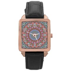 Abstract Painting Mandala Salmon Blue Green Rose Gold Leather Watch  by EDDArt
