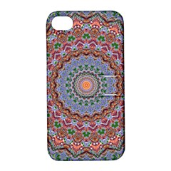 Abstract Painting Mandala Salmon Blue Green Apple Iphone 4/4s Hardshell Case With Stand by EDDArt