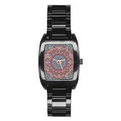 Abstract Painting Mandala Salmon Blue Green Stainless Steel Barrel Watch by EDDArt