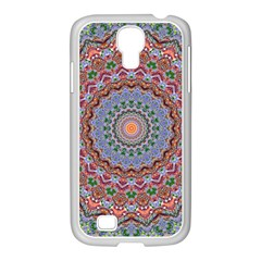 Abstract Painting Mandala Salmon Blue Green Samsung Galaxy S4 I9500/ I9505 Case (white) by EDDArt